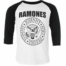 Official The Ramones Raglan T-Shirt Mens White/Black Tee Shirt Top