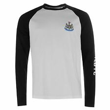 Newcastle United FC Raglan Long Sleeved T-Shirt Mens Black/White Football Soccer