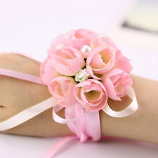 Hot Bridal Wrist Corsage Rose Buds Wedding Artificial Silk Flower Bracelet Decor