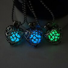 Stylish Women Hollow Carved Flower Pattern Heart Shape Luminous Pendant Necklace