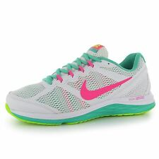 Nike Dual Fusion 3 Womens Running Shoes Trainers White/Pink/Grn Jogging Sneakers