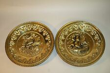 Pair of Vintage Ship Nautical Boat Hammered Brass Wall Plates Made in England