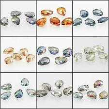 17x13mm Faceted Glass Crystal Charm Finding Loose Spacer Teardrop Beads 5pcs