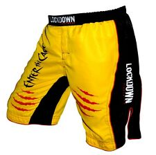 Lockdown Enter the Cage UFC MMA Shorts KSW Cage Fightshorts Yellow - Sizes S-XL