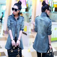 New Womens Denim Jacket Fashion Casual Long Sleeve Jeans Coat Outwear Fashion