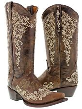 Women's medium brown western leather cowboy cowgirl boots embroidered snip toe