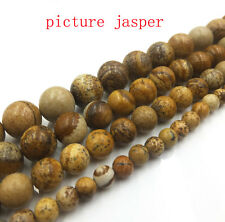 "Picture jasper Natural Gemstone Round Spacer Loose Beads 15"" Strand"