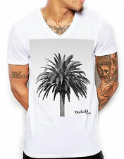 Distinkt Youth Grey Scale Palm Tree V Neck Mens T Shirt Top Tee Holiday Ibiza