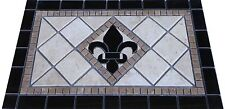 Black Granite Fleur de Lis Mosaic Medallion Backsplash Floor Tile Marble Design