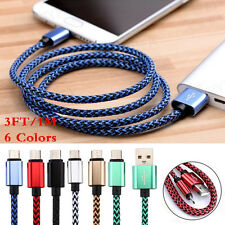 3FT/1M Fabric Braided Micro USB Data Sync Charger Cable For Smart Phone 6Colors