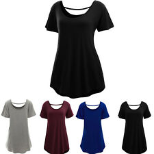 Women Plus Size Short Sleeve Ladies Stretch Long T-Shirt Loose Plain Tops Blouse