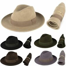 Men's Ladies Made In Italy 100% Wool Felt Fedora Hat Waterproof & Crushable