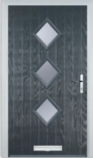 Carter Three UPVC Front Door, Frame & Letterbox With Impression Glazed Panels