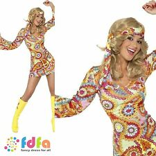 60s 70s PSYCHEDELIC HIPPY HIPPIE CHICK -8-18 - womens ladies fancy dress costume