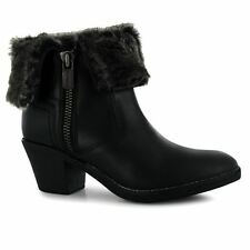 Firetrap Ladies Womens Shine Heeled Ankle Boots Zip Up Fastening Faux Fur Shoes