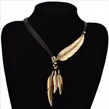 Fashion Crystal Chunky Statement Bib Tassels Leaf Pendant Chain Choker Necklace