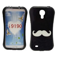 BLACK CASE WITH WHITE MUSTACHE PRINT GEL HARDCASE FOR SAMSUNG GALAXY S4MINII9190