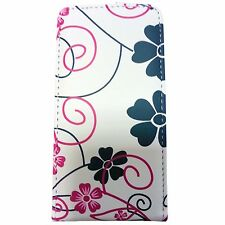 WHITE CASE BLACK PINK FLOWER SWIRL PU LEATHER FLIP CASE FOR SONY XPERIA MIRO