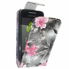 GREY AND PINK FLOWER PU LEATHER FLIP CASE FOR SAMSUNG GALAXY ACE S5830
