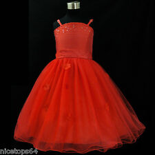 Reds Communion Christening Wedding Party Outfit Flower Girls Dresses SIZE 1T-2T