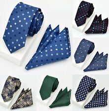 Man Dot Stripe Silk Satin Pocket Square Hankie Handkerchief Necktie Set