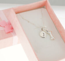 Sterling Silver Dog Bone Charm on a sterling silver box chain personalized.