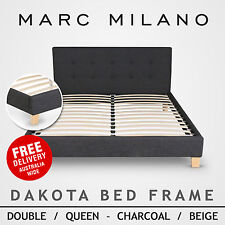 New Luxury Double/Queen Size Charcoal Grey or Natural Fabric Bed Frame Mattress