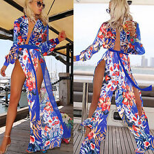Women Sexy Summer Beach Chiffon Sundress Deep V Floral Split Maxi Long Dress