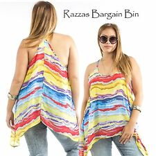 New Ladies Rainbow Asymetrical Hem Top Plus Size 16 &18 (9802A)LI