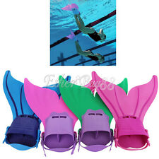 Mermaid Tail Monofin Fins Swim Flippers Teen Youth Kids Boys Girls Dive Costumes