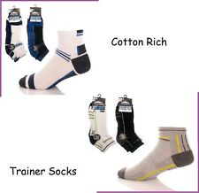 Mens Prohike Cotton Rich Trainer Ankle Socks Dark or Stripe Assorted