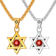 Hexagram Star of David Pendant Stainless Steel Necklace 18K Gold Plated Jewelry
