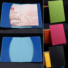 Lavender Travel Passport Holder Cover Faux Leather ID Card Ticket Case 14*10cm B
