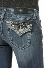Miss Me Jeans Women's Dark Wash Boot Cut Black Leather Studs & Crystals JP8494B