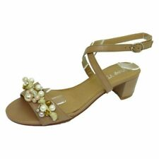 LADIES WOMENS NUDE LOW HEEL BEADED ANKLE STRAP SANDALS PARTY SHOES SIZE UK 3-8