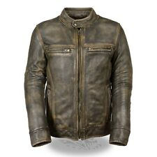 MENS PREMIUM COWHIDE LEATHER DISTRESSED BROWN VENTED MOTORCYCLE JACKET - SA66