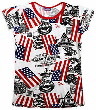 Girls Stars And Stripes Logo Short Sleeved USA T-Shirt New Kids Tops 2-13 Years