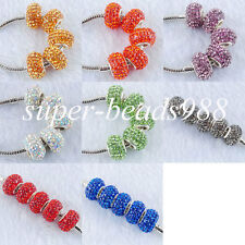 Crystal Rhinestones Spacer Beads Fit European Bracelets Charm 9x14mm SBA020