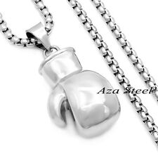 Men's Boxing Glove Solid 316L Stainless Steel Charm Pendant Chain Necklace Set