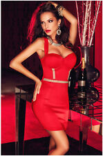Women Sexy Low-cut Strap Backless Package Hip Set Auger Mini Dress Club Wear