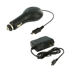 Retractable Micro USB Black Car Charger+Wall Travel Home Charger for Cell Phones