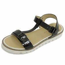 LADIES BLACK DOLCIS FLAT BUCKLE SANDALS FLIP-FLOP T-BAR SHOES MULES SIZES 3-8