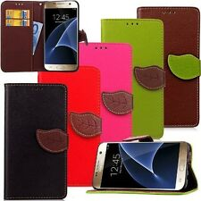 1X Leaf Magnetic Wristlet Flip Wallet Card Stand Leather Case For Samsung Galaxy