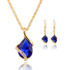Women Water Drop Crystal Necklace + Earrings Sets Gold Plated Fashion Jewelry