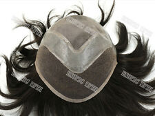 Mens Toupee 100% European Real Hair Wig Toupee France Lace With Poly wig H010