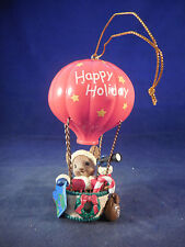 santa mouse with spy glass in hot air balloon plastic ornament 4""