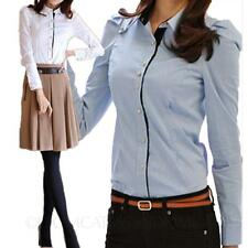 Business Shirt Winter Fitted Smart Blouse cotton Long Sleeve Womens Top Size