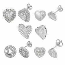 925 Sterling Silver Crystal Stud Heart Earrings