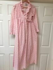 VINTAGE LAURA ASHLEY House Coat / Dressing Gown. Pink Wrap Over 1970s Very Rare