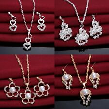 Exquisite Prom Wedding Bridal Crystal Rhinestone Pearl Necklace Earrings Jewelry
